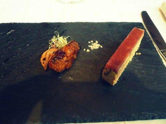 restaurant l'eden : Biscuit de Foie Gras et Gelée de Figues, Chutney de Fruits Secs