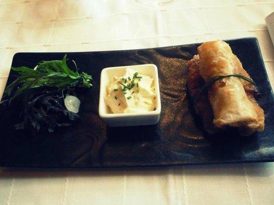 restaurant l'eden : Croustillants de Gambas au Chorizo, Chantilly à l'Ail Confite
