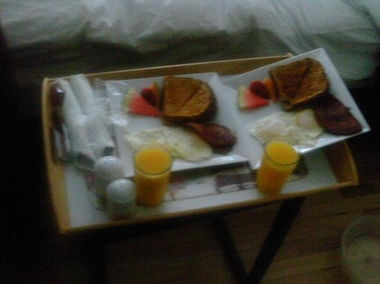 Leaside Suites and Executive Apartments : Breakfast was placed outside our room. So sweet. (Sorry for the horrible quality picture)
