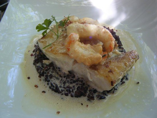Les Secrets Gourmands : merlu langoustine et risotto à la crème de langoustine