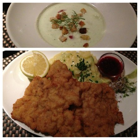 Konigsquelle: Wiener Schnitzel and Cucumber/Yogurt/Fennel soup