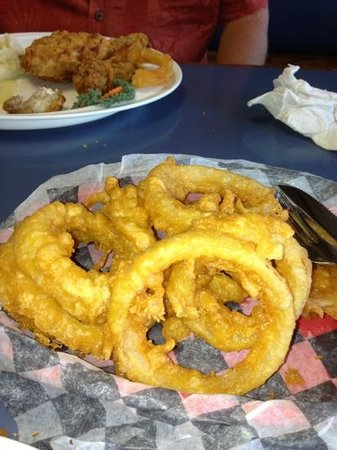 Darrow's Family Restaurant : homemade onion rings great & broasted chicken with homemade mashed potatoes