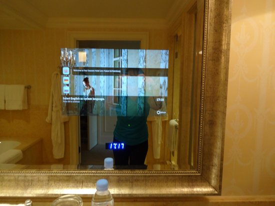 Four Seasons Hotel Lion Palace St. Petersburg: Seamlessly integrated Bathroom TV/Mirror