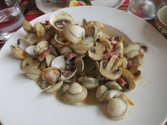 la plage : Coques au lard et champignons