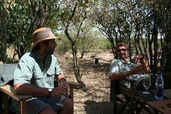 Mara Crossings Camp: Sajid, the manager and my husband