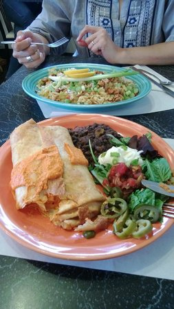 The Cheeze Factory Restaurant: Coconut bowl (rear); chimichanga