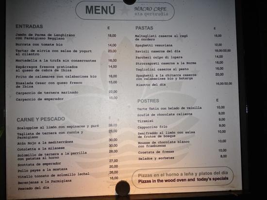 Macao Cafe: Menu