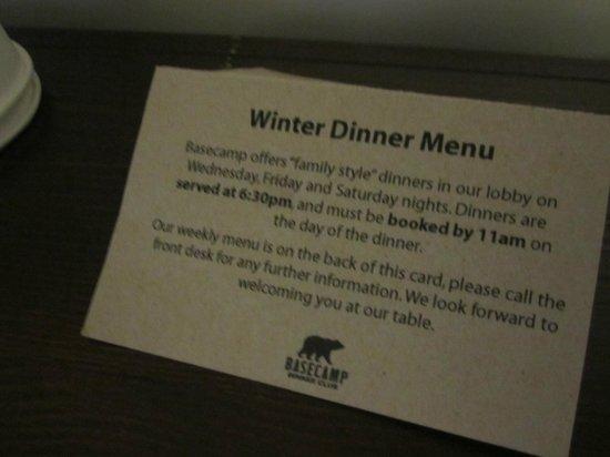 Basecamp South Lake Tahoe: menu