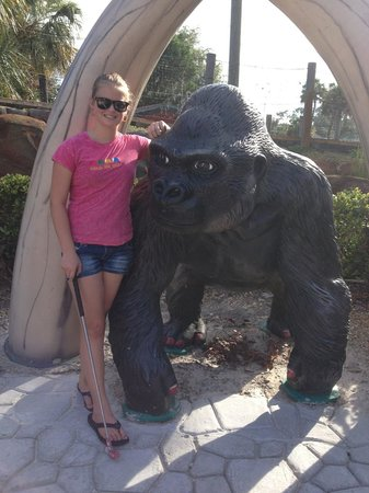 Family Fun Town: My boyfriend's cousin by one of the animals during mini golf