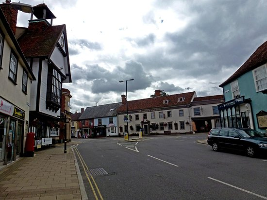 The Saracens Head Hotel Panoramic View Of Front From Dunmow Market With Cross