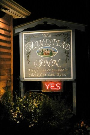 Homestead Inn: A welcome sight at night.