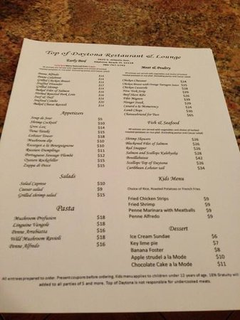 Hyde Park Drinks Menu