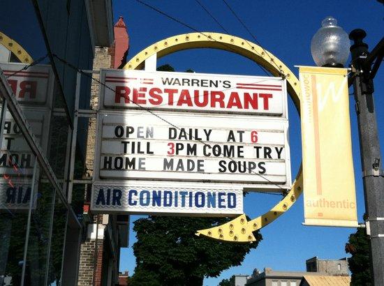 Warrens Restaurant Outside Sign
