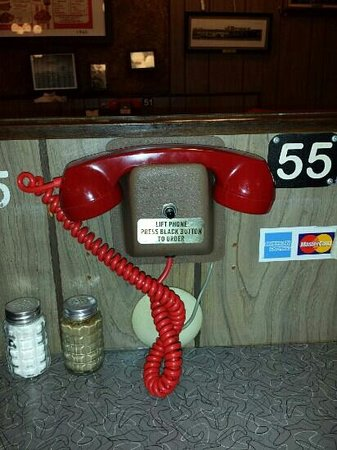 J B's: Order your food from one of these phones when dining inside.