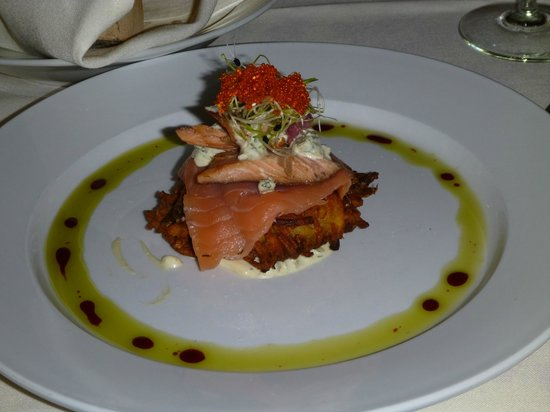 Jen's Garden: House smoked trout and salmon potato galette