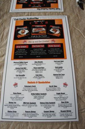 Crab Cracker Seafood Bar: The menu