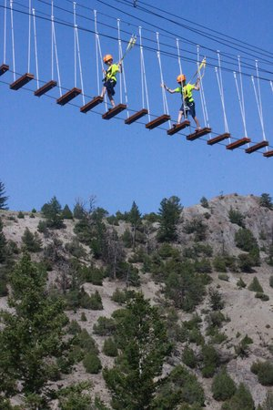 Montana Whitewater Raft Company : Grandsons on the swinging bridge