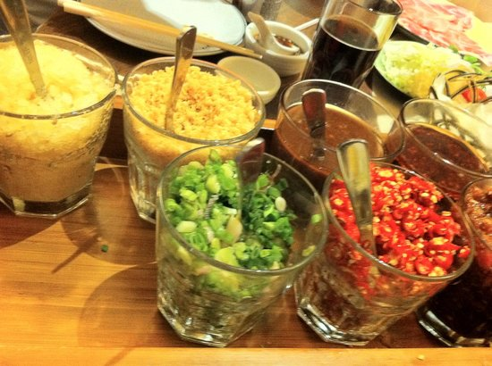 condiments to mix with your soya sauce.