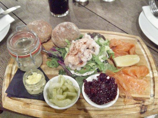 The Plough Inn: Fisherman's platter. The smoked mackerel pâté, in the jar, divine!