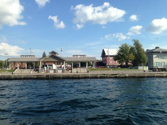 Thousand Islands Inn: The Inn (Red Building) as seen from my tour boat on the St. Lawrence River. Right across the str