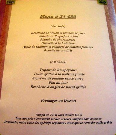 Logis du Commerce : menu