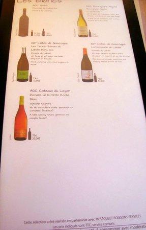 Logis du Commerce : carte des vins