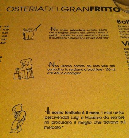 Osteria del Gran Fritto: Consigli del menu