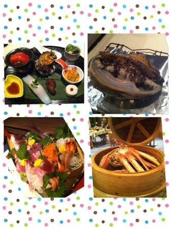 Urashima : dinner の一部です。前菜(7品)、地魚盛り合わせ、佐渡天然岩牡蠣、ずわい蟹のせいろ蒸し。そのほかに、焼き物、鍋物、茶碗蒸し、揚物、お茶漬け、デザートがでました。