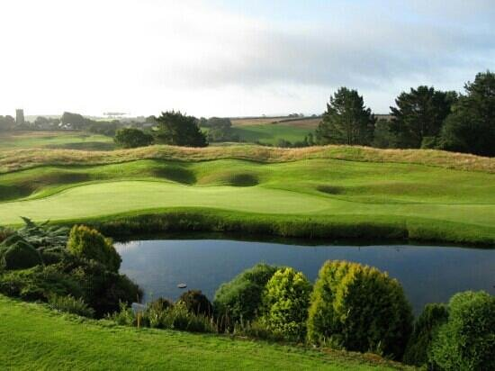 St. Mellion Golf Club: View of 18th green of Nickolas course from our room.