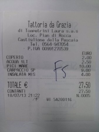 Da Grazia : scontrino fiscale a fugare dilettantistiche illazioni del gestore