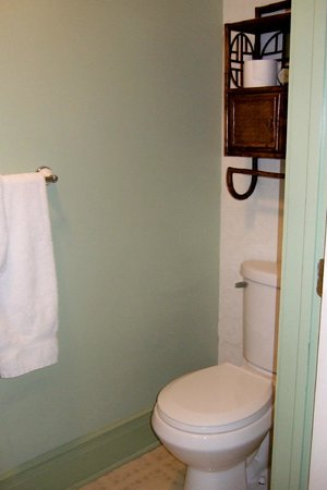 Parish House Inn : The bathroom is a very tight fit; no kidding, this shows the wall on either side