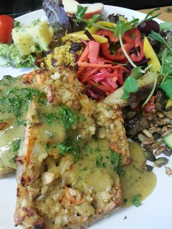 The Green Way Cafe: Carrot, Cashew Nut and Sunflower Seed Roast with a Mustard and Herb Sauce