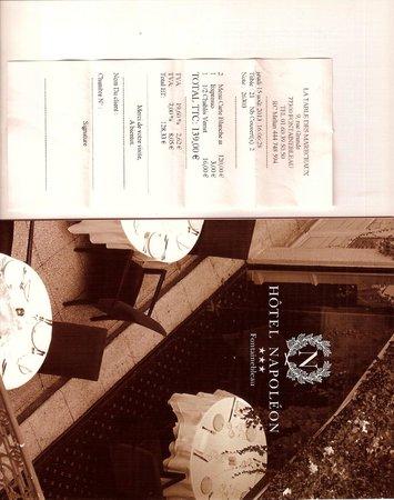 La Table des Marechaux - Hotel Napoleon: La note salée et la publicité