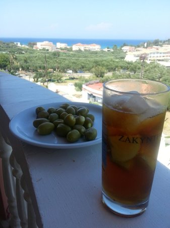 Zante Calinica Apart Hotel: View from our room...with drink and olives!!