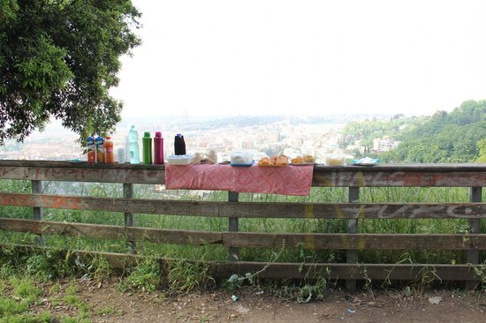 Domus Quiritum B&B: Surprise Breakfast Picnic by the DQ folks on Rome's hightest hill