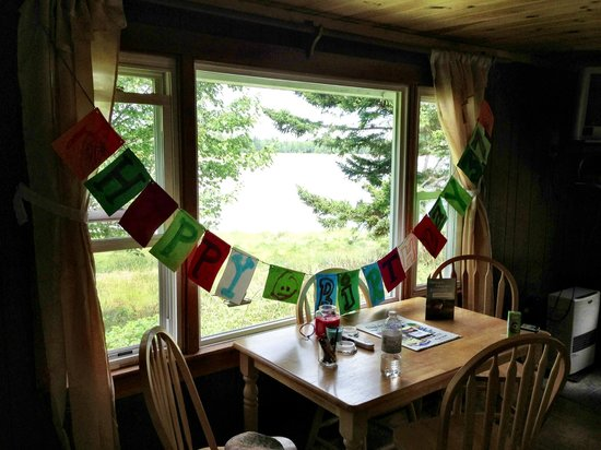 Ocean Spray Cottages: the view from the Main room of the cabin, The birdfeeder on the window was great!!!!