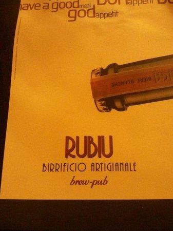 Rubiu Birrificio Artigianale: Tovaglietta