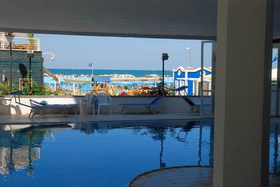 Hotel Negresco : la piscine couverte, avec vue sur la mer