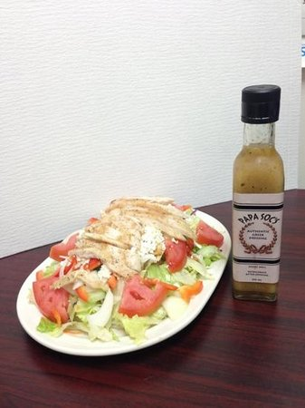 Chuckwagon Restaurant: Chicken Greek Salad with our homemade Papa Soc's Authentic Greek Dressing