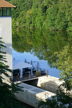 Hôtel Le Moulin De Madame : Detail of view from room showing dinner terrace (next morning)