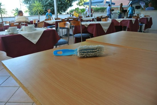 Hotel Lumbarda: brush for cleaning tables