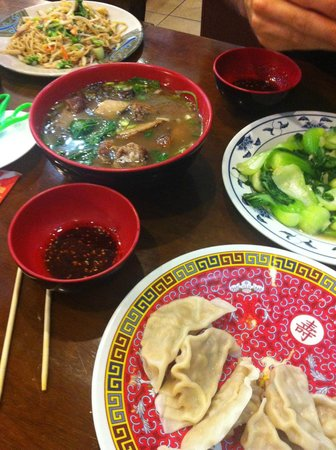 Tasty Hand Pulled Noodles : Roast duck soup, baby bok choy and pork dumplings