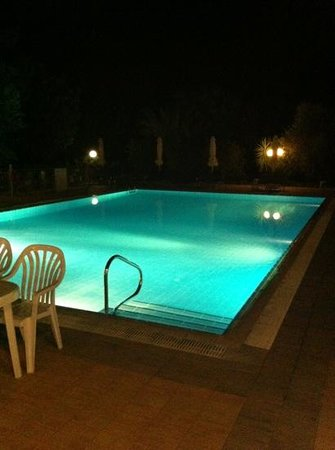 Andreas Studios & Apartments: the pool at night