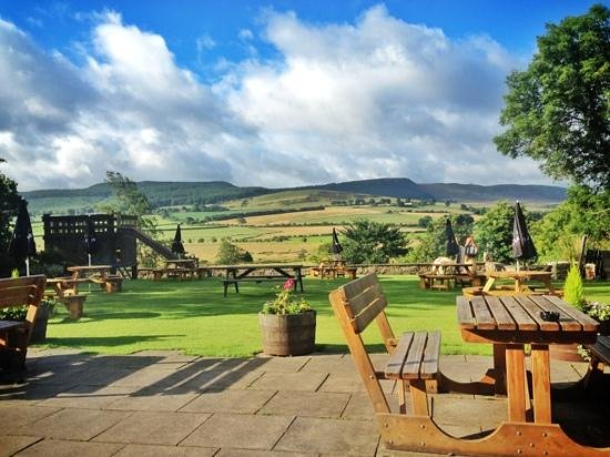 The Three Wheat Heads Inn: view whilst eating our breakfast!
