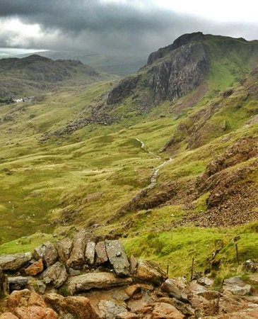 Lake View: Not a view from the hotel. Approaching Pen y pass from the Pyg Track on Snowdon descent.