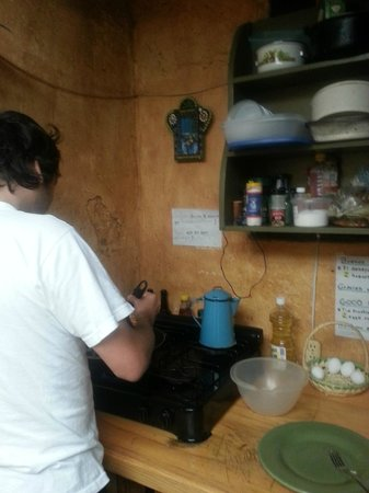 Posada del Abuelito's Kitchen - Cooking some eggs!