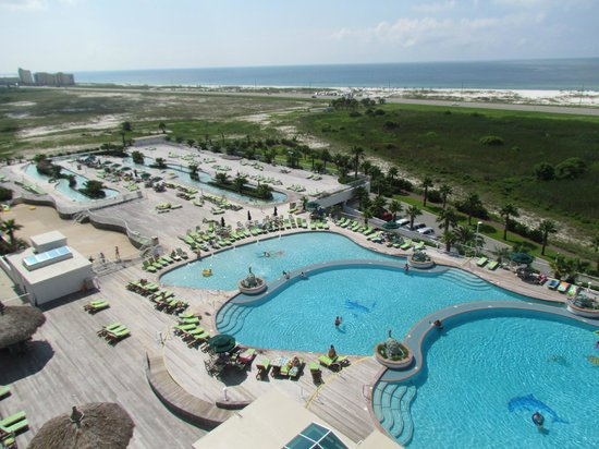 "Caribe Resort: View from our room (""C"" Bldg).  Pools and lazy river"