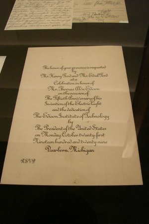 Crane Museum of Papermaking: Ford Invitation to Honor Thomas Edison
