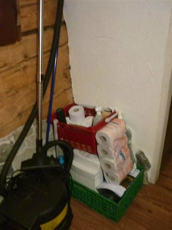 The Rustico Hotel: cleaning materials ready in bedroom