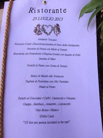 Il Casale del Cotone: The menu